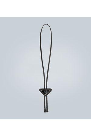 Prada Saffiano triangle necklace with logo
