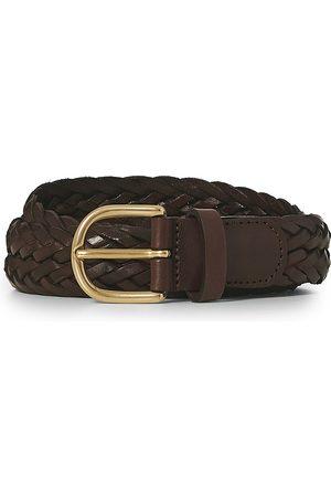 Anderson's Herre Belter - Woven Leather Belt 3 cm Dark Brown