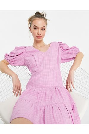 French Connection Birch gingham puff sleeve dress in lavender-Purple