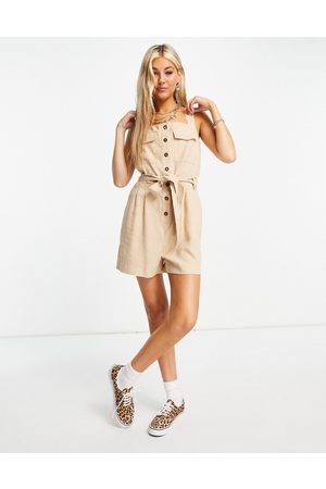 ONLY Utility playsuit with button front in -Neutral
