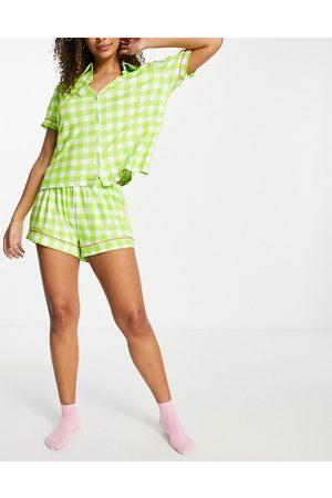 Chelsea Peers Eco jersey gingham print revere short pyjama set-Green