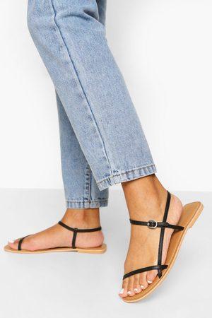 Boohoo Dame Flip flops - Leather Skinny Strap Sandals