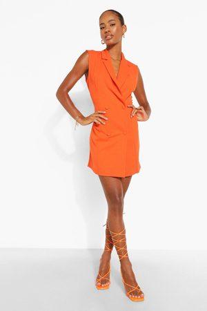 Boohoo Sleeveless Double Breasted Blazer Dress
