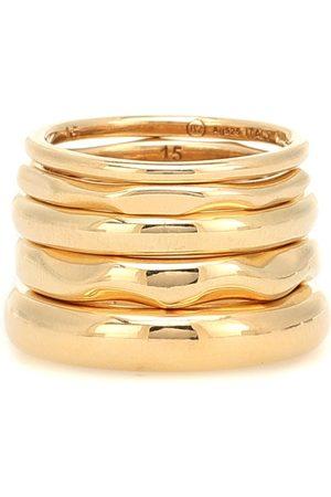 Bottega Veneta 18kt gold-plated set of five rings