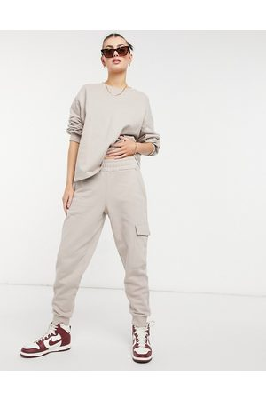 Aligne Organic cotton cuffed joggers co-ord with pocket detail in mushroom-Neutral