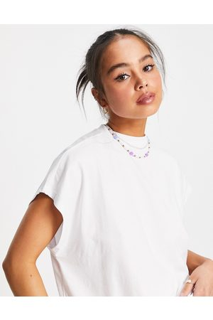 Noisy May High neck t-shirt in white