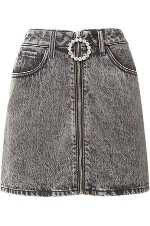 Alessandra Rich Embellished Cotton Denim Mini Skirt