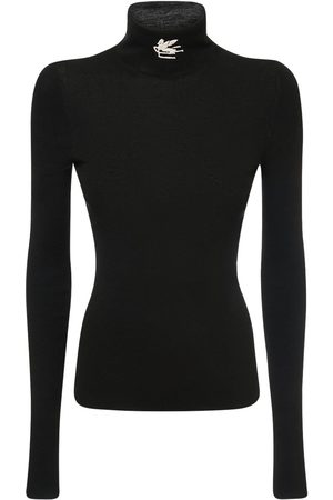 Etro Wool Knit Logo Turtleneck Sweater