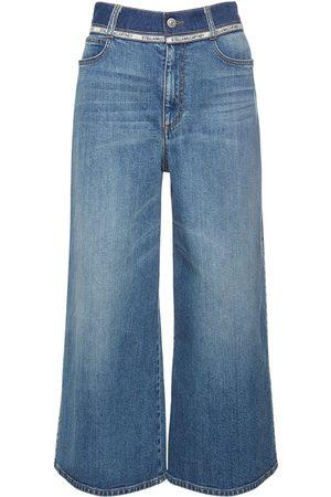 Stella McCartney Dame Wide Leg - Cotton Denim Wide Leg Cropped Jeans