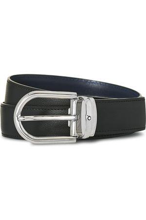 Mont Blanc Herre Belter - Reversible Horseshoe Leather Belt 30mm Blue/Black Grain