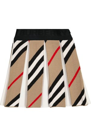 Burberry Icon Stripe pleated wool-blend skirt