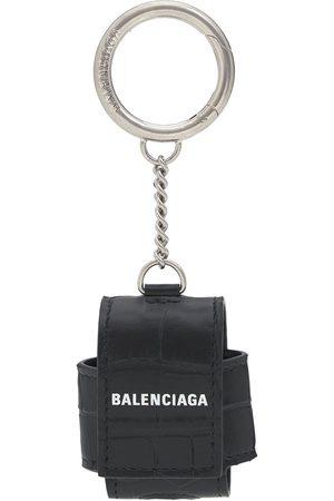 Balenciaga Logo Croc Embossed Leather Airpod Holder