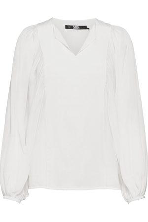 Karl Lagerfeld Dame Bluser - Silk Blouse W/ Gathering Bluse Langermet