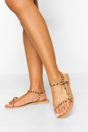 Boohoo Wide Fit Leather Skinny Strap Sandals