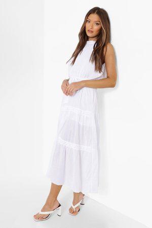 Boohoo Dame Halterneckkjoler - Crochet Trim Halterneck Cotton Maxi Dress