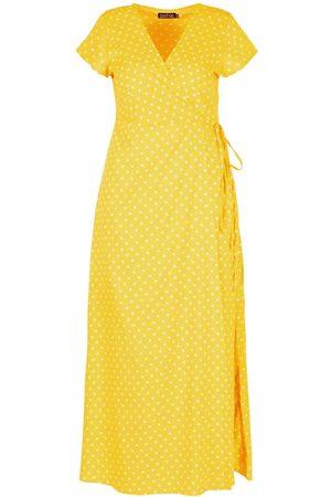 Boohoo Plus Polka Dot Wrap Maxi Dress