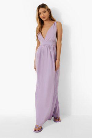 Boohoo Cotton Plunge Maxi Dress