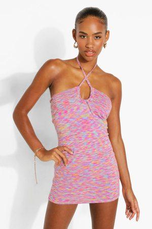 Boohoo Space Dye Knitted Keyhole Halter Mini Dress