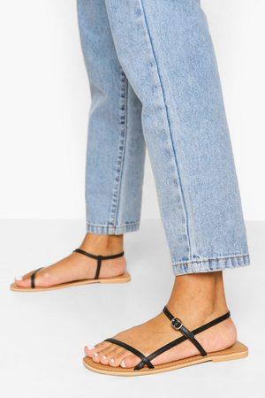 Boohoo Dame Flip flops - Wide Fit Leather Skinny Strap Sandals