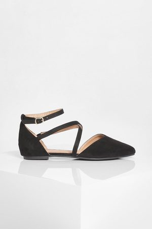 Boohoo Dame Loafers - Cross Strap Pointed Toe Flats