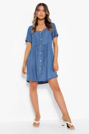 Boohoo Chambray Short Sleeve Smock Dress