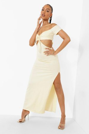 Boohoo Off The Shoulder Tie Detail Cut Out Maxi Dres