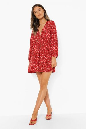 Boohoo Ditsy Floral Wrap Front Smock Dress