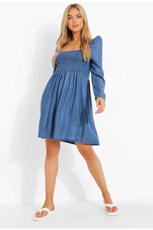 Boohoo Chambray Shirred Smock Dress