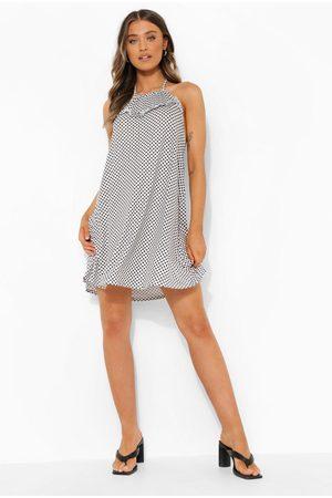Boohoo Checkered Halterneck Swing Dress