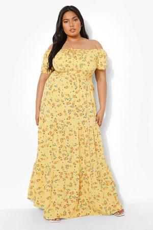 Boohoo Plus Off Shoulder Floral Tiered Maxi Dress