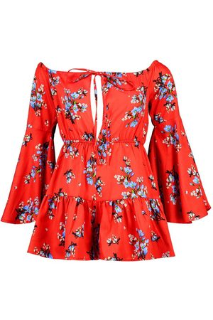 Boohoo Floral Off The Shoulder Ruffle Playsuit