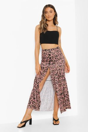Boohoo Button Disty Floral Drop Hem Maxi Skirt