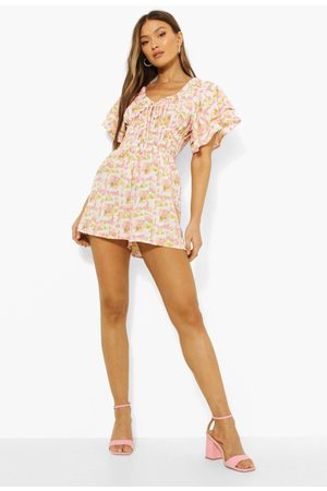Boohoo Floral Frill Tie Detail Playsuit