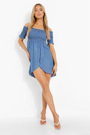 Boohoo Shirred Wrap Denim Dress