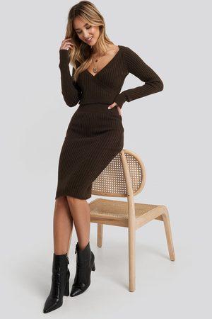 NA-KD Dame Midiskjørt - Rib Knitted Skirt