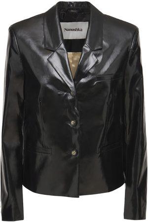 Nanushka Karolyn Faux Patent Leather Boxy Blazer