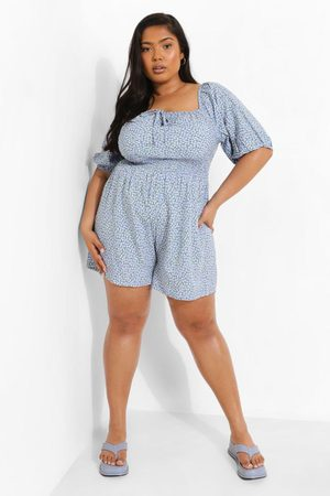 Boohoo Dame Playsuits - Plus Ditsy Floral Shirred Waist Playsuit