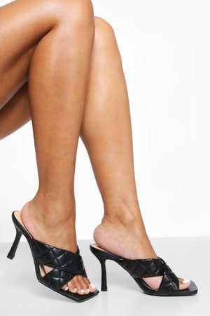 Boohoo Quilted Cross Strap Mule