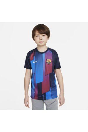 Nike FC Barcelona kortermet fotballtrøye for oppvarming til store barn