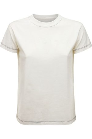 MM6 MAISON MARGIELA Dame Kortermede - Embroidered Logo Cotton Jersey T-shirt