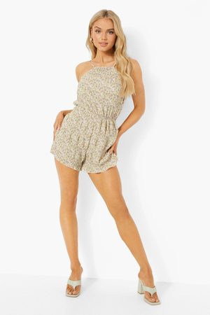 Boohoo Dame Playsuits - Floral Shirred Strappy Playsuit