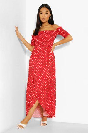 Boohoo Petite Spot Shirred Wrap Front Maxi Dress