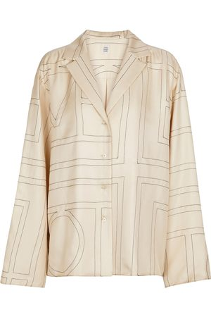 Totême Dame Langermede - Printed silk twill pajama shirt