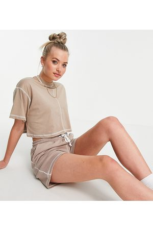 Missguided Co-ord crop t-shirt with contrast stitch in brown