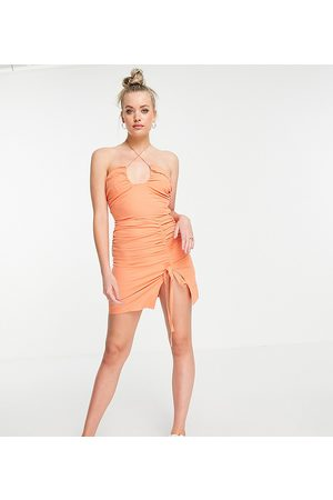 Missguided Co-ord halter neck ruched top in orange