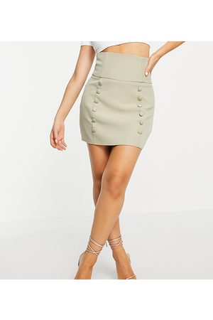 Missguided Co-ord button front mini skirt in khaki-Green