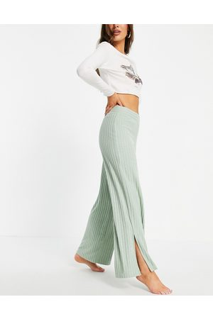 Gilly Hicks Co-ord slit loungewear trousers in green-Blue