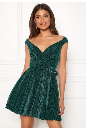 Goddiva Lurex Skater Dress Emerald XXL (UK18)