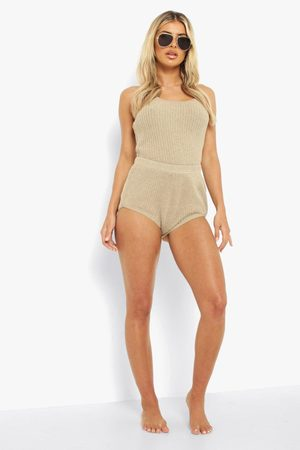 Boohoo Knitted Halter And Shorts Co-ord