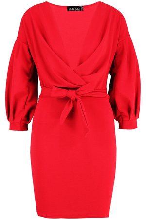 Boohoo Off the Shoulder Wrap Bodycon Dress